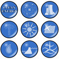 Vector Clean Alternative Energy Icons Stock Photography