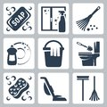 Vector cleaning icons set soap window cleaner duster dishwashing liquid bucket and cloth toilet brush and flush toilet sponge Stock Images