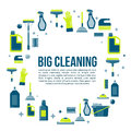 Vector cleaning items banner in flat style with spray bottle, bucket, mop and household supplies. Sanitary and