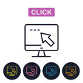 Vector click icon. Computer and mouse cursor. Royalty Free Stock Photo