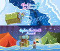 Vector climbing banners stylish set on the theme of mountaineering mountain history equipment preparation for the ascent modern Stock Photo