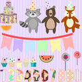 Vector clip art for birthday party with forest animals Royalty Free Stock Photo