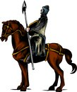 Vector clip art illustration of an armored knight on a scary black horse with red eyes charging or jousting with a lance