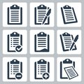 Vector clipboard icons set list Stock Photos