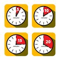 Clock Set. Five, Ten, Fifteen and Twenty Minutes Timer Symbols. Vector Flat Design Time Icons Royalty Free Stock Photo