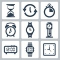 Vector clocks icons set Royalty Free Stock Photo