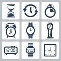 Vector clocks icons set Royalty Free Stock Photo