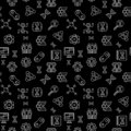 Vector Cloning concept dark outline seamless pattern Royalty Free Stock Photo
