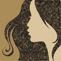 Vector Closeup decorative vintage grunge woman Royalty Free Stock Images