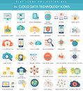 Vector Cloud data technology color flat icon set. Elegant style design.