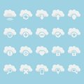 Vector cloud icons set isolated Stock Images