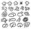 Vector clouds doodle collection set. Weather hand drawn forecast elements.