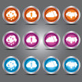 Vector clouds icons set with upload and download theme on glass button for your design Royalty Free Stock Photo