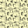 Vector cocoa products hand drawn sketch doodle seamless pattern background food chocolate sweet illustration. Royalty Free Stock Photo