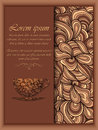 Vector coffee background with floral pattern elements.