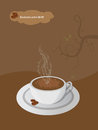 Vector coffee brochure with cup of beans price cloud and floral elements on brown background Royalty Free Stock Photos