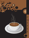 Vector coffee brochure with cup of on brown and dark background Royalty Free Stock Photos
