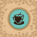 Vector coffee cup on blue label menu background in retro style Royalty Free Stock Images