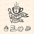 Vector coffee station logo in doodle style include bakery icon a and flag pattern at background shop concept design Stock Image