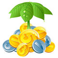 Vector coins under leafs umbrella Royalty Free Stock Photo