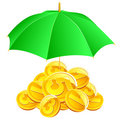 Vector coins under umbrella. Royalty Free Stock Photo