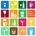 Vector collection alcohol icons colorful Royalty Free Stock Photo