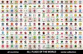 Vector collection of all flags of the world in circular design, arranged in alphabetical order, with original colors and high deta
