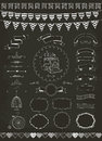 Vector collection of banners ribbons and frames chalk drawing Stock Photography