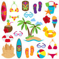 Vector Collection of Beach and Tropical Themed Images Royalty Free Stock Photo