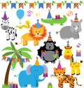Vector Collection of Birthday Party Themed Jungle Animals Royalty Free Stock Photo