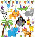 Vector collection of birthday party themed jungle zoo or safari animals Stock Image
