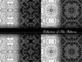 Vector Collection of Black and White Seamless Vintage Patterns Royalty Free Stock Photo