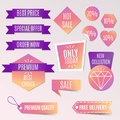 Vector collection of bright discount tags, banners and stickers.