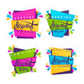 Vector collection of bright discount tags Royalty Free Stock Photo