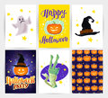 Vector collection of cartoon Halloween spooky cards and party invitations and flyers with lettering, patterns, decoration elements Royalty Free Stock Photo