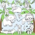 Vector Collection of Cartoon Zoo Animals