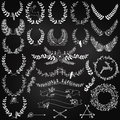 Vector Collection of Chalkboard Christmas Holiday Themed Laurels Royalty Free Stock Photo