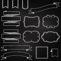 Vector collection of chalkboard style banners ribbons and frames Stock Images