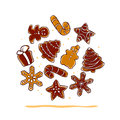 Vector collection of christmas chocolate hand drawn ginger beard isolated on white background. Royalty Free Stock Photo