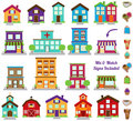 Vector collection of city and town buildings including various signs Stock Photos