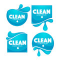 Vector collection of clean water stickers and symbols