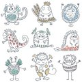 Vector collection of colorful funny monsters. Cute characters.