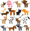 Vector collection of cute cartoon dogs and puppies Royalty Free Stock Photos