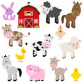 Vector collection of cute cartoon farm animals and barn Stock Photos