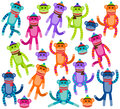 Vector collection of cute and colorful sock monkeys monkey faces Stock Photography