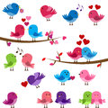 Vector Collection of Cute Love Birds Royalty Free Stock Photo