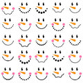 Vector Collection of Cute Snowman Faces