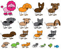 Vector Collection of Cute Stick Figure Pets Royalty Free Stock Photo