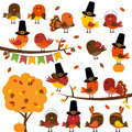 Vector Collection of Cute Thanksgiving and Autumn Birds Royalty Free Stock Photo