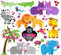 Vector Collection of Cute Valentines Day Zoo Animals